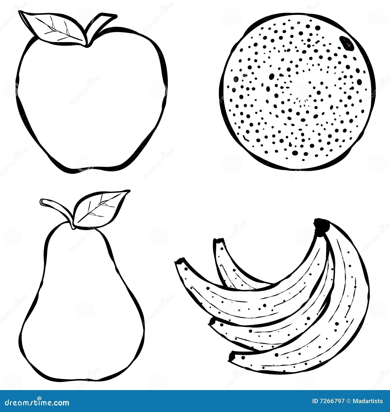 Various Fruit Line Art stock illustration. Illustration of