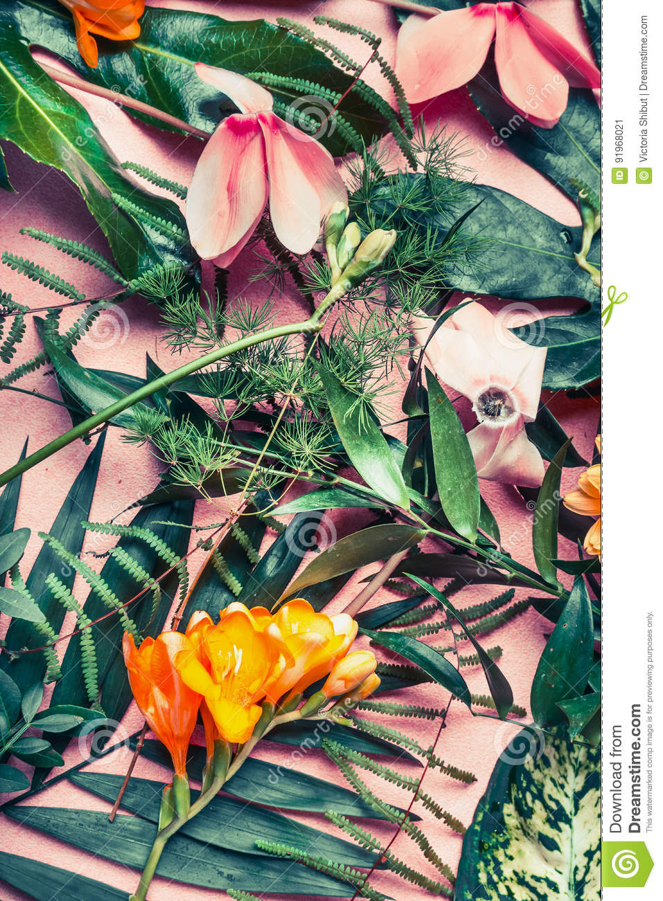 Cute Floral Laptop Wallpapers Various Green Tropical Leaves And Exotic Flowers Nature
