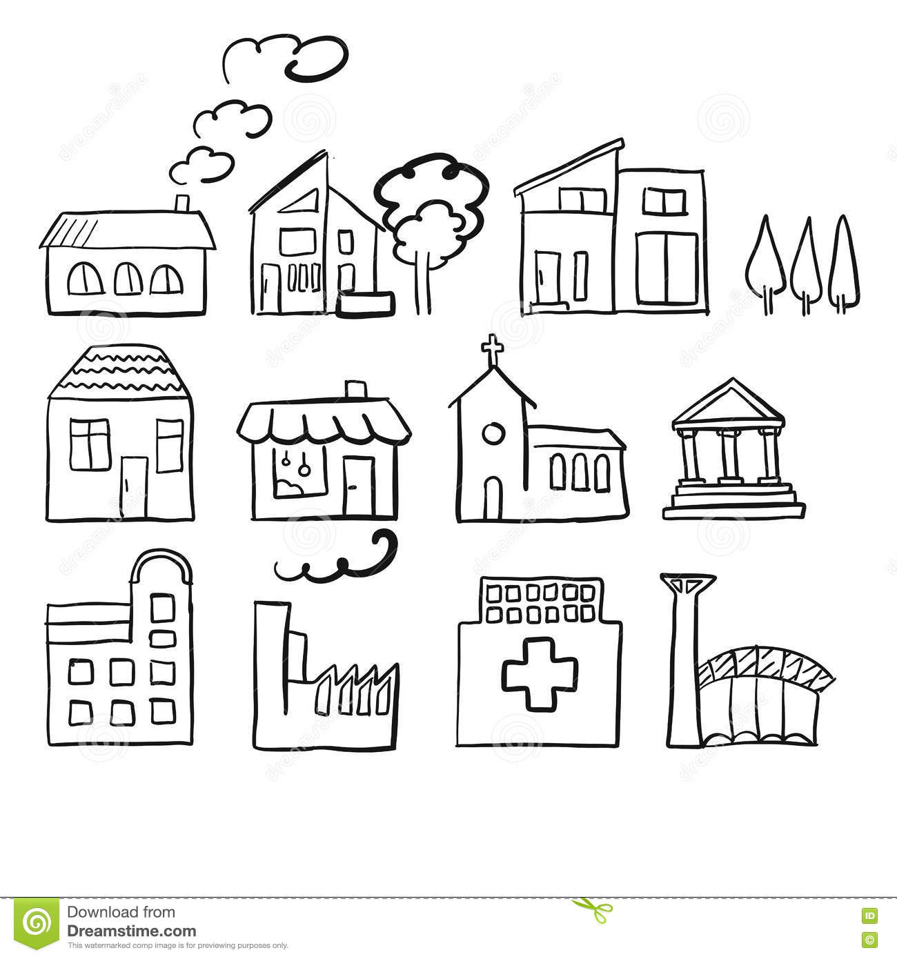 Various House Types Fast Vector Sketch Stock Vector