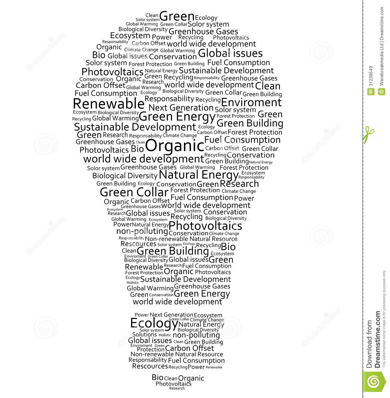 Various Words Forming A Light Bulb Stock Illustration