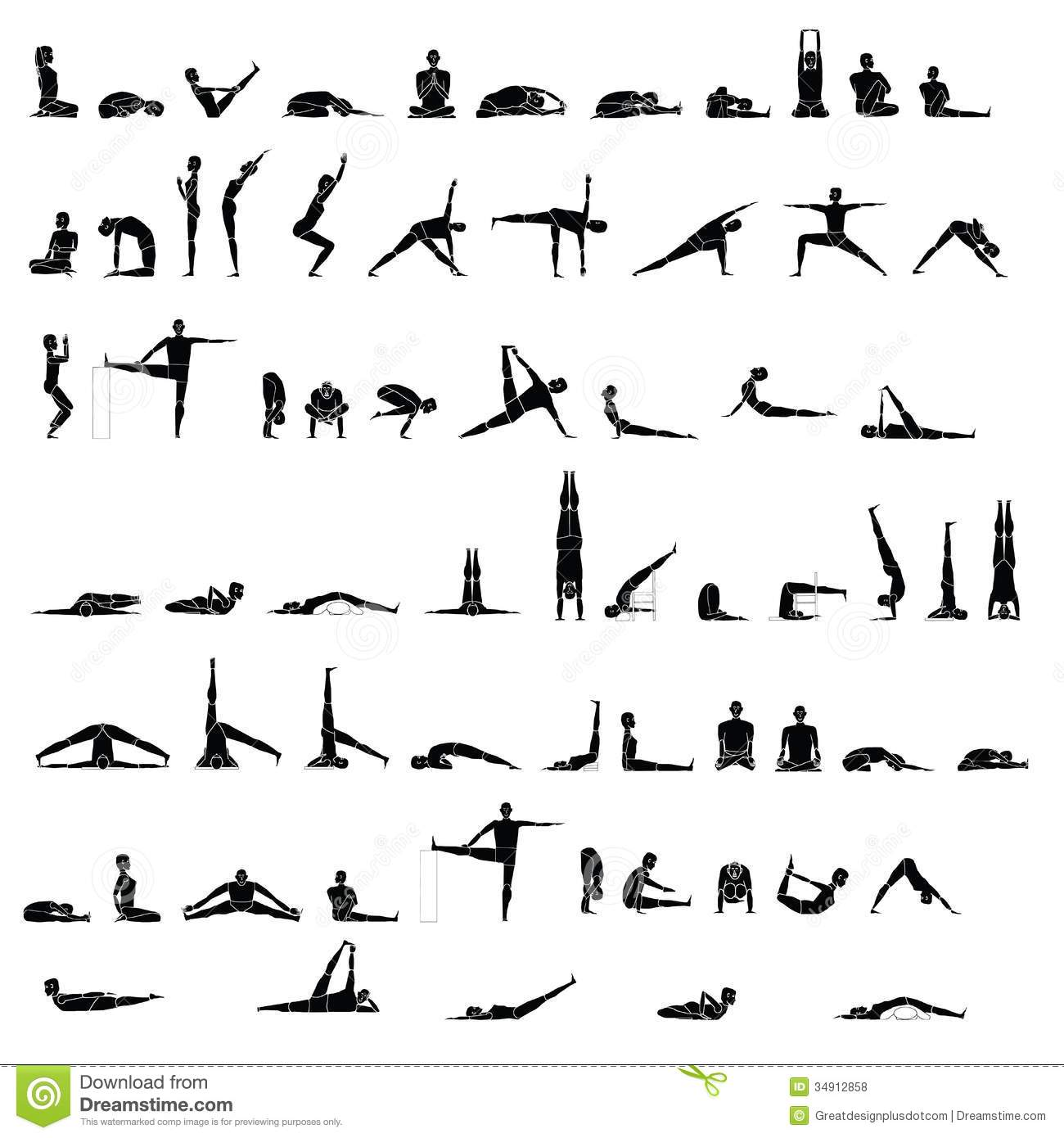 Various Yoga And Stretching Poses Stock Vector