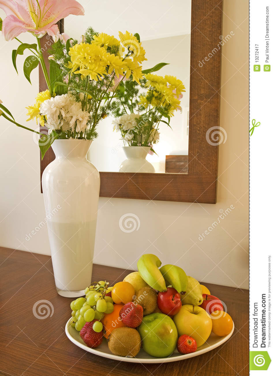 Vase Of Flowers And Fruit On A Table Stock Image  Image