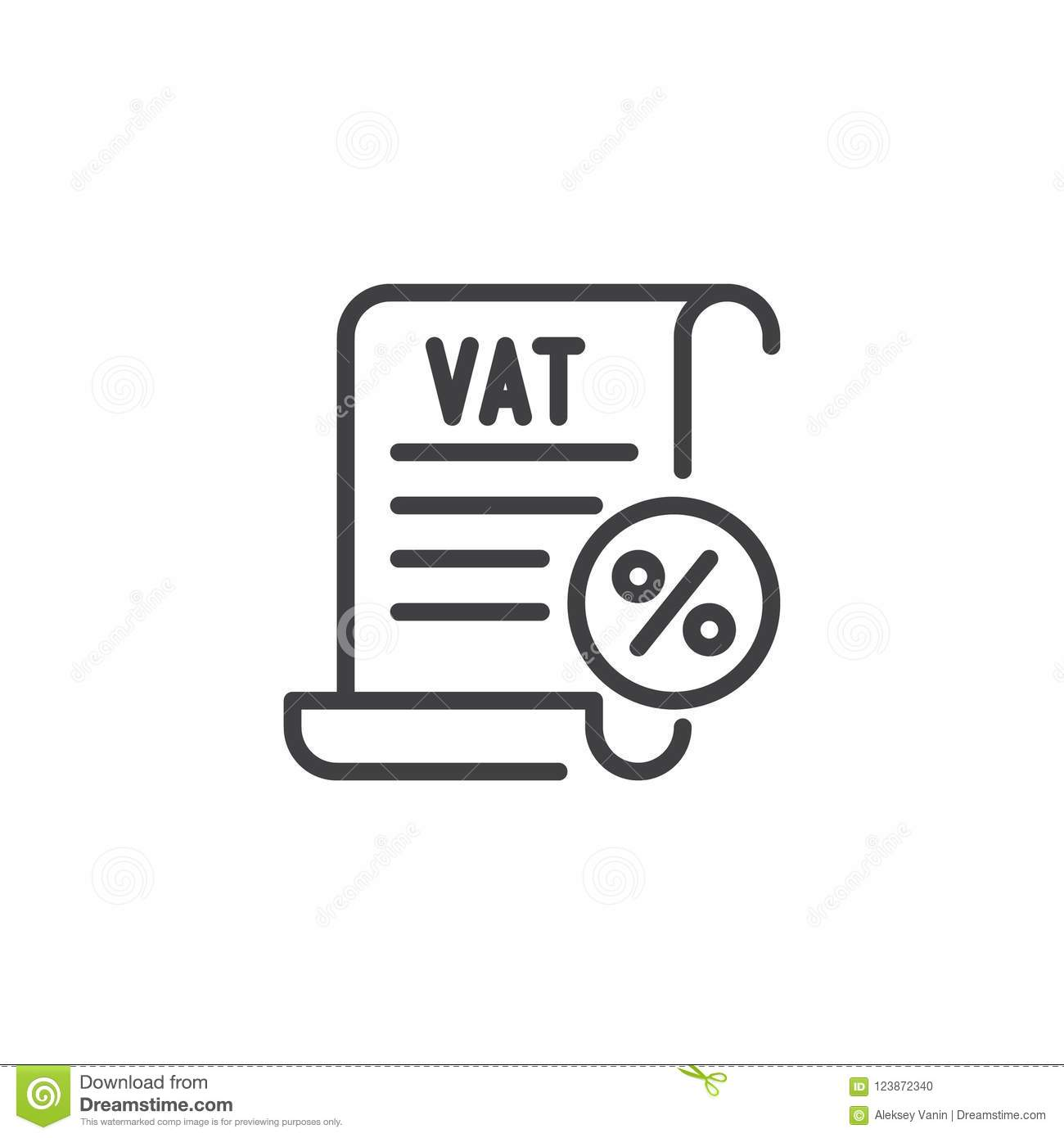 Vat Taxes Outline Icon Stock Vector Illustration Of