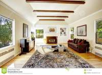 Vaulted Ceiling With Brown Beams In Living Room Stock ...