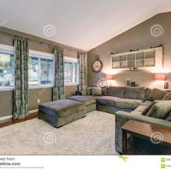 Paint Colors For Living Rooms With Vaulted Ceilings Tan Sofa Room Ideas Ceiling Family Taupe Walls Color Stock Photo