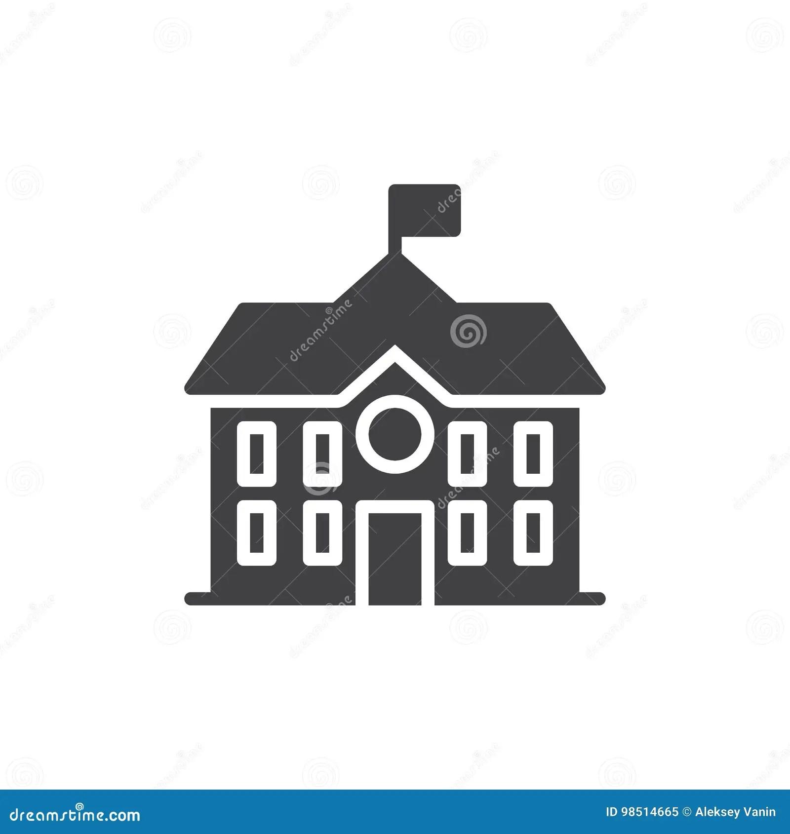 Vecteur D'icône De Bâtiment De Lycée Illustration de