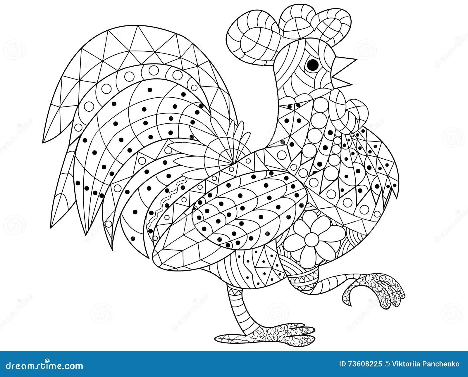Vecteur De Livre De Coloriage De Coq Pour Des Adultes Illustration De Vecteur