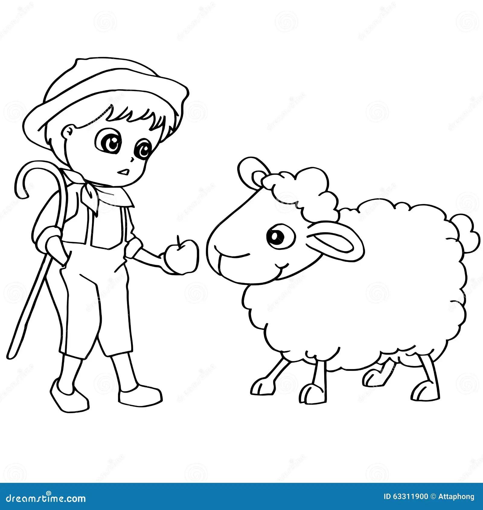 Vecteur De Moutons D'alimentation Des Enfants De Livre De
