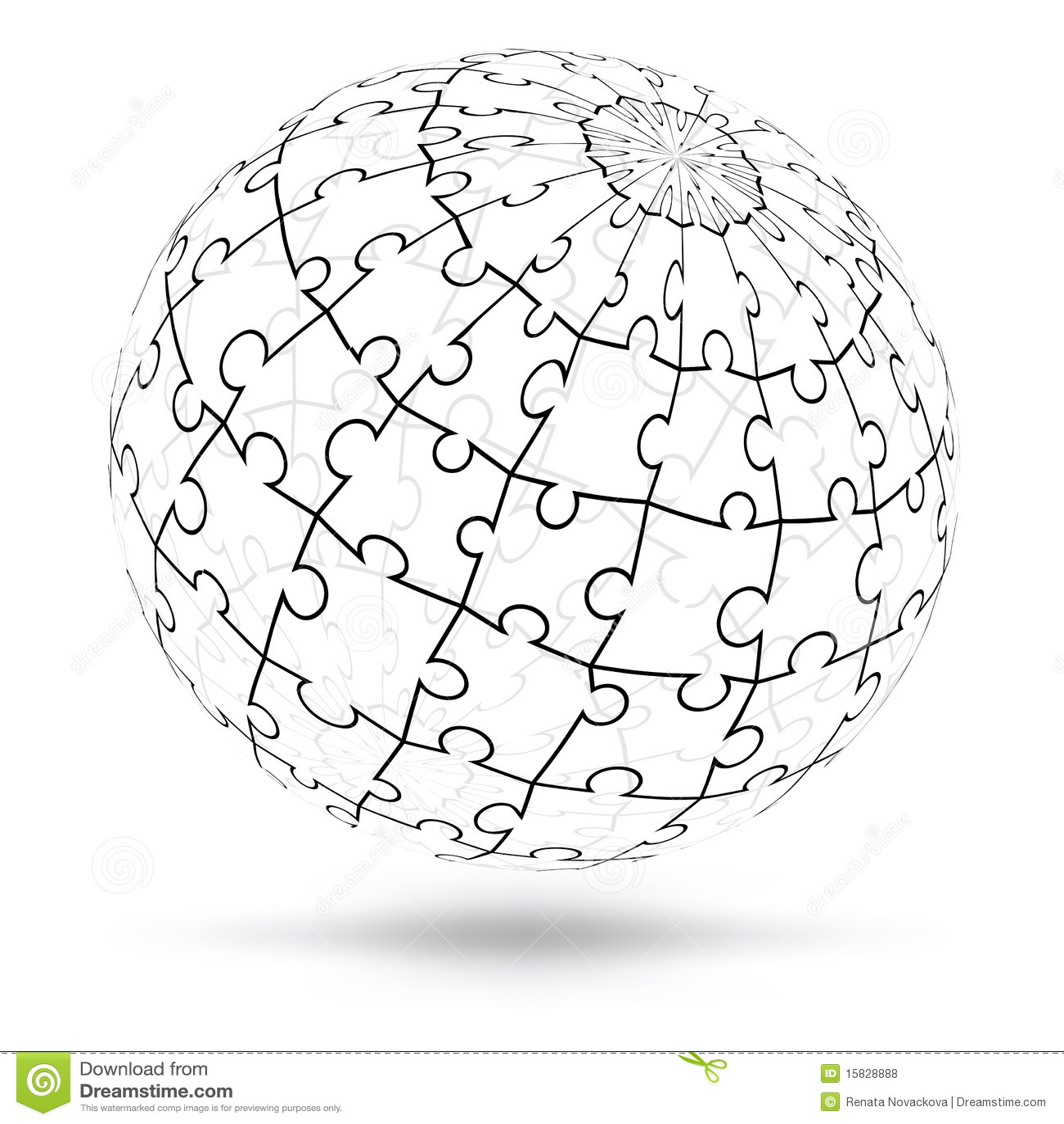 Vector 3d Puzzle Globe Royalty Free Stock Photos