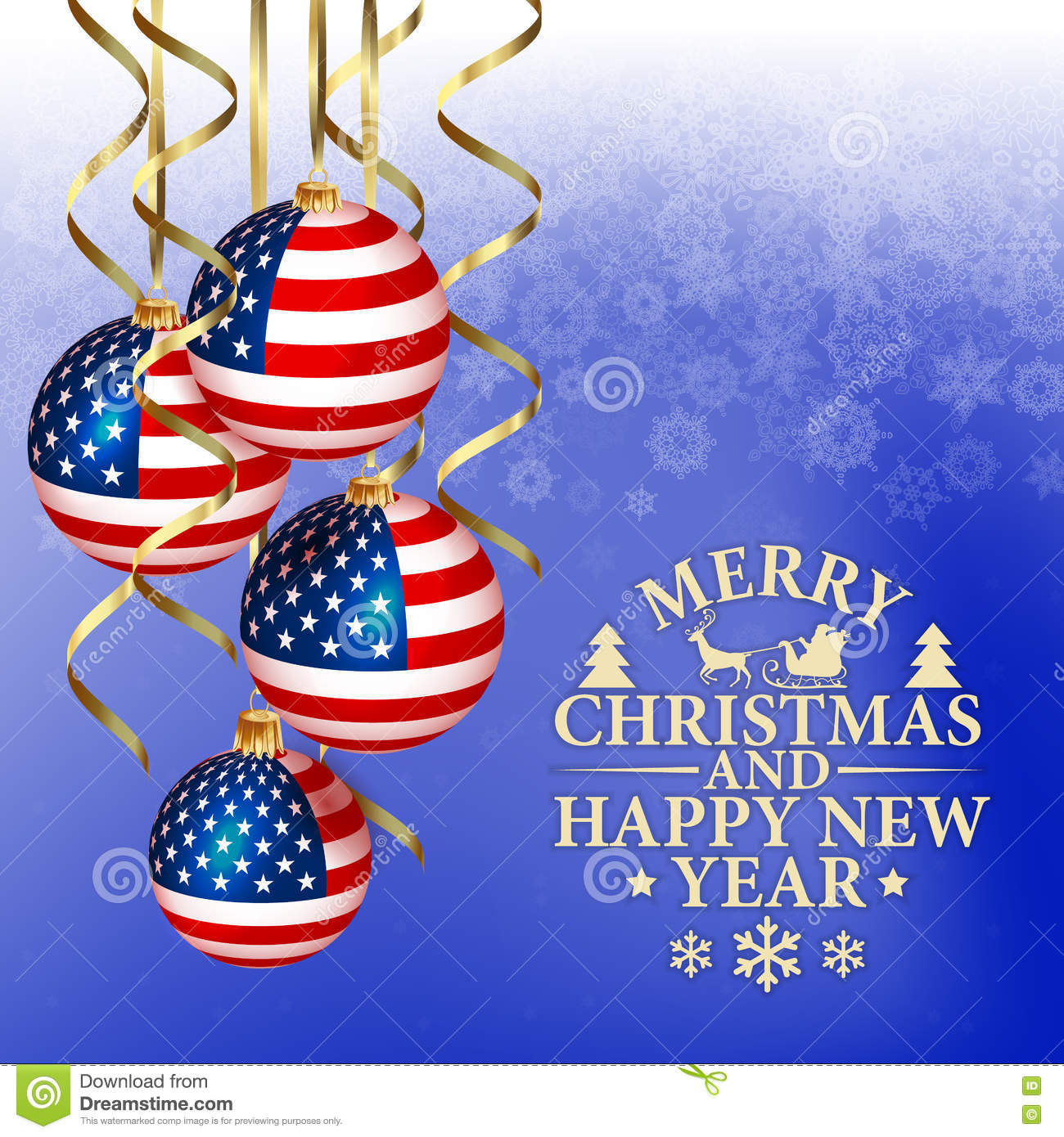 Vector Abstract Christmas Background With Patriotic