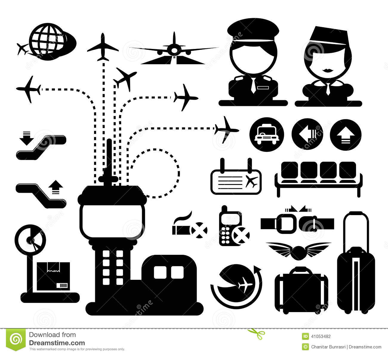 Vector Airport Icon Stock Vector Image Of Illustration