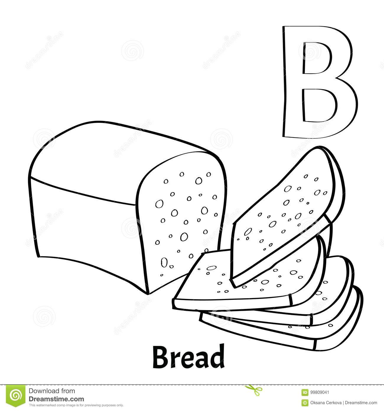 Vector Alphabet Letter B, Coloring Page. Bread Stock