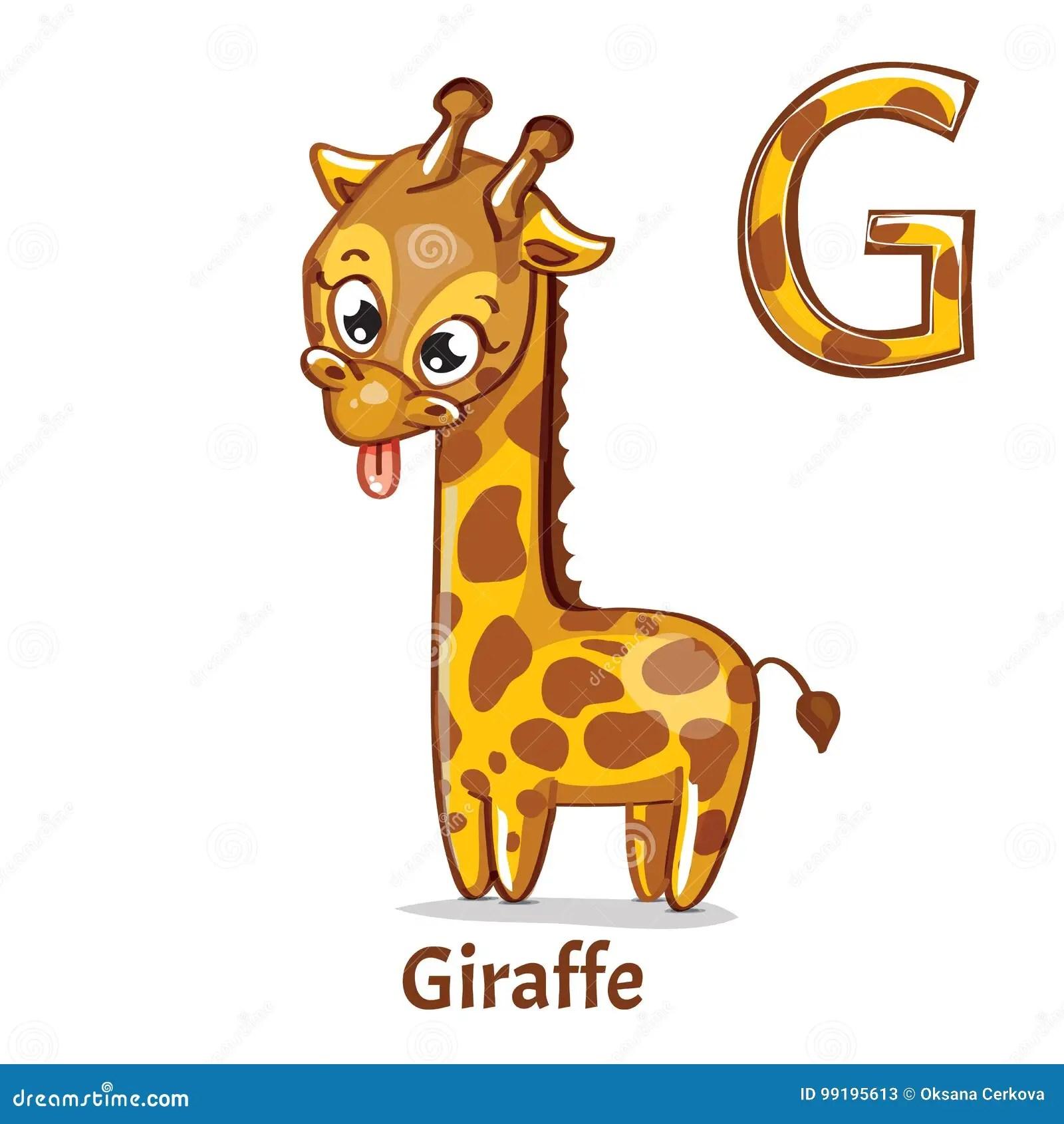 Vector Alphabet Letter G Giraffe Stock Vector