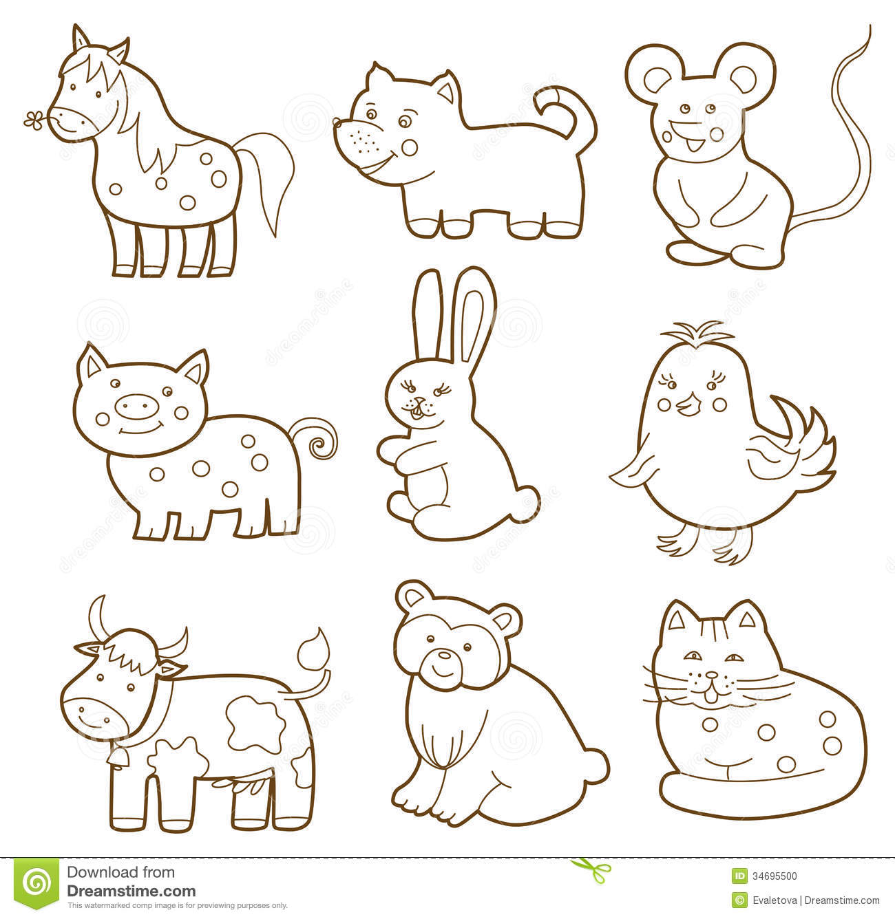 Domestic Animals Pictures For Colouring