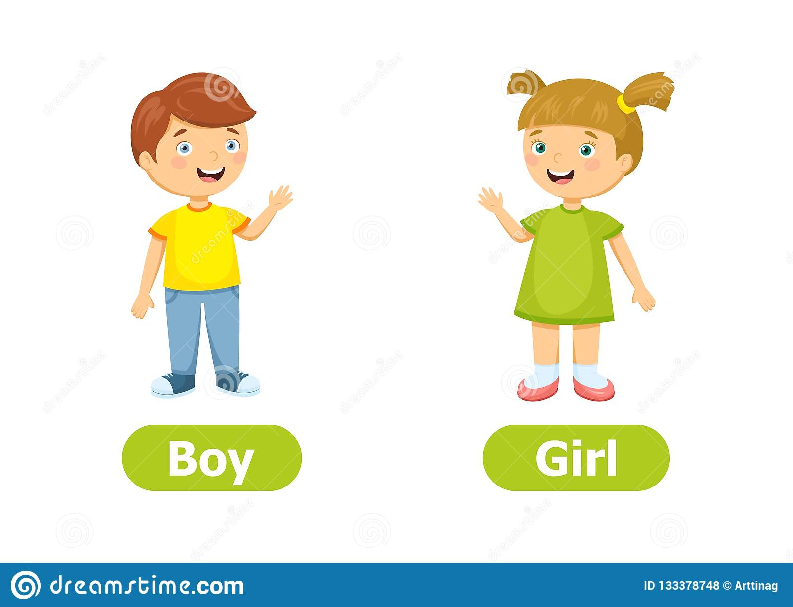 Vector Antonyms And Opposites Boy And Girl Stock