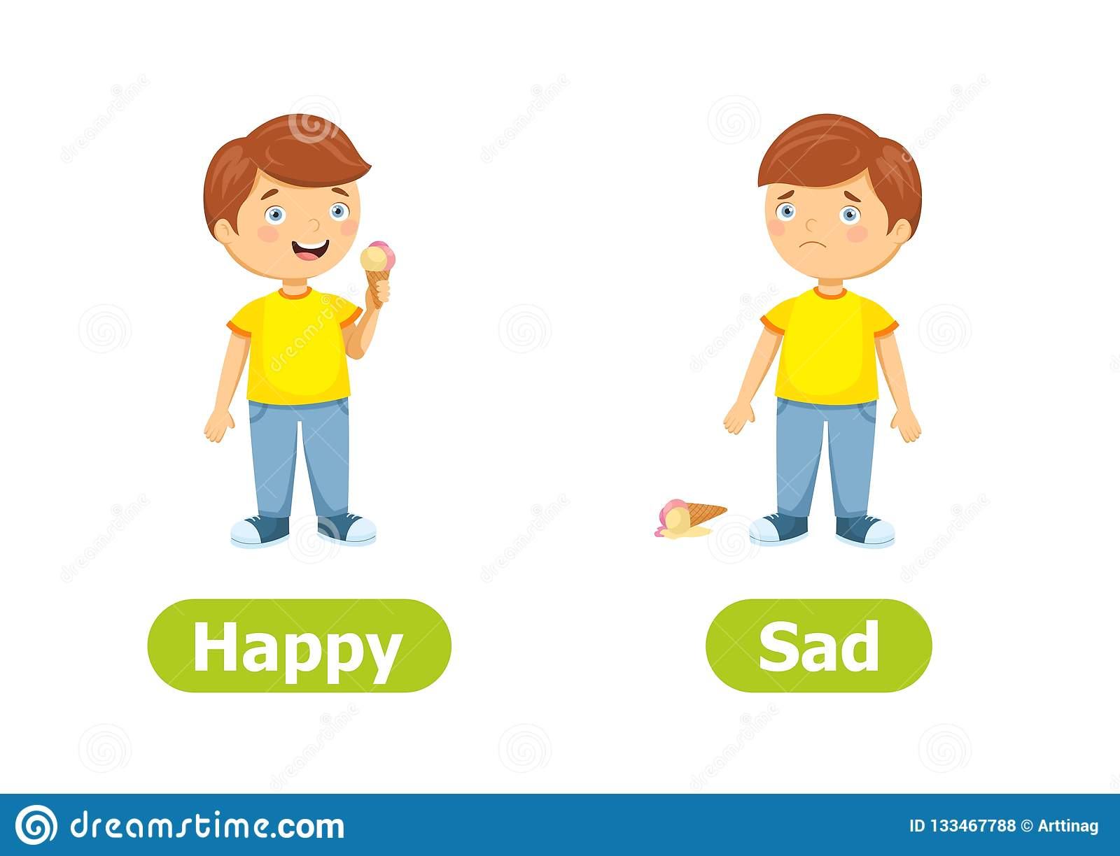 Vector Antonyms And Opposites Happy And Sad Stock