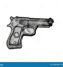 vector art illustration black gun clipart [ 1300 x 1009 Pixel ]