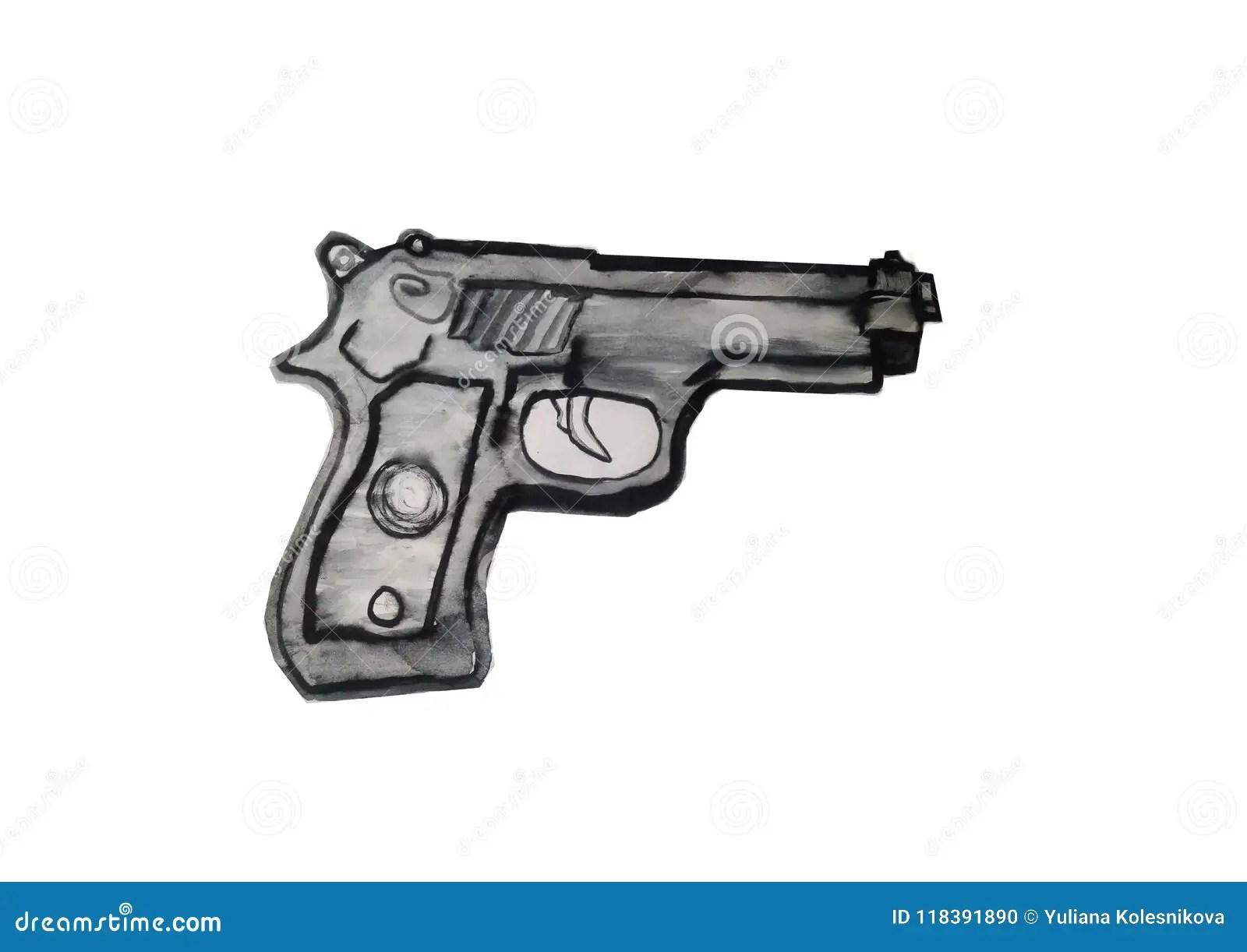 hight resolution of vector art illustration black gun clipart
