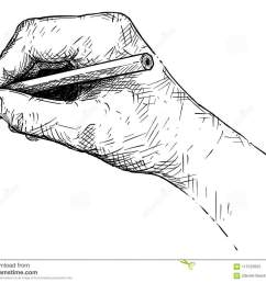 vector artistic illustration or drawing of hand writing or sketching with pencil [ 1300 x 1085 Pixel ]