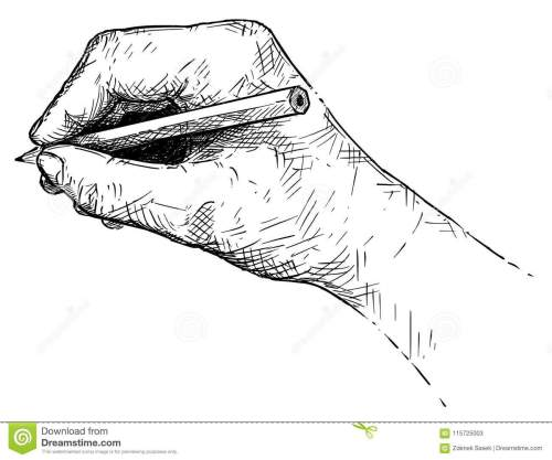 small resolution of vector artistic illustration or drawing of hand writing or sketching with pencil