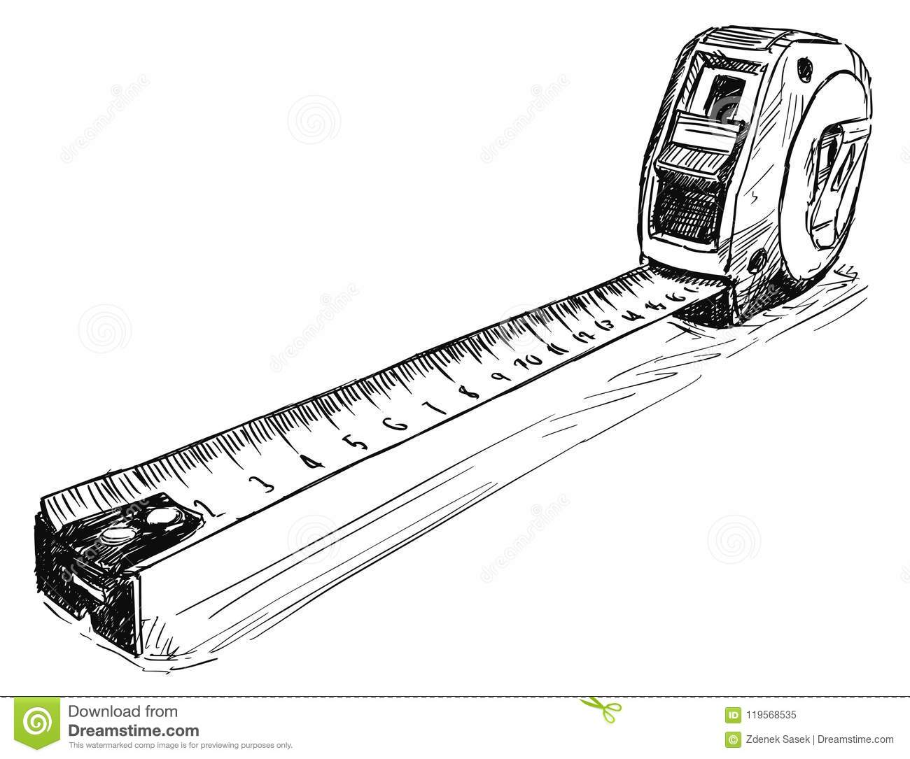 Vector Sketch Drawing Illustration Of Measuring Tape Stock