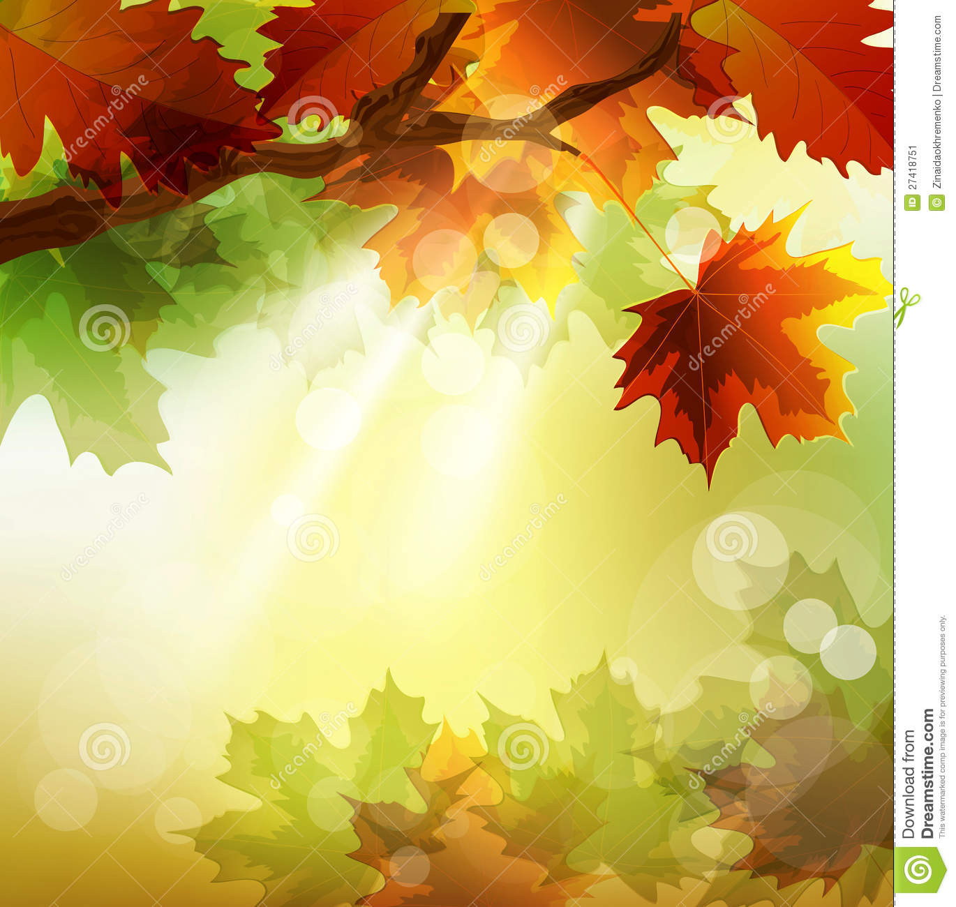 Fall Themed Wallpapers Cartoon Vector Autumn Background With Maple Leaf Stock Image