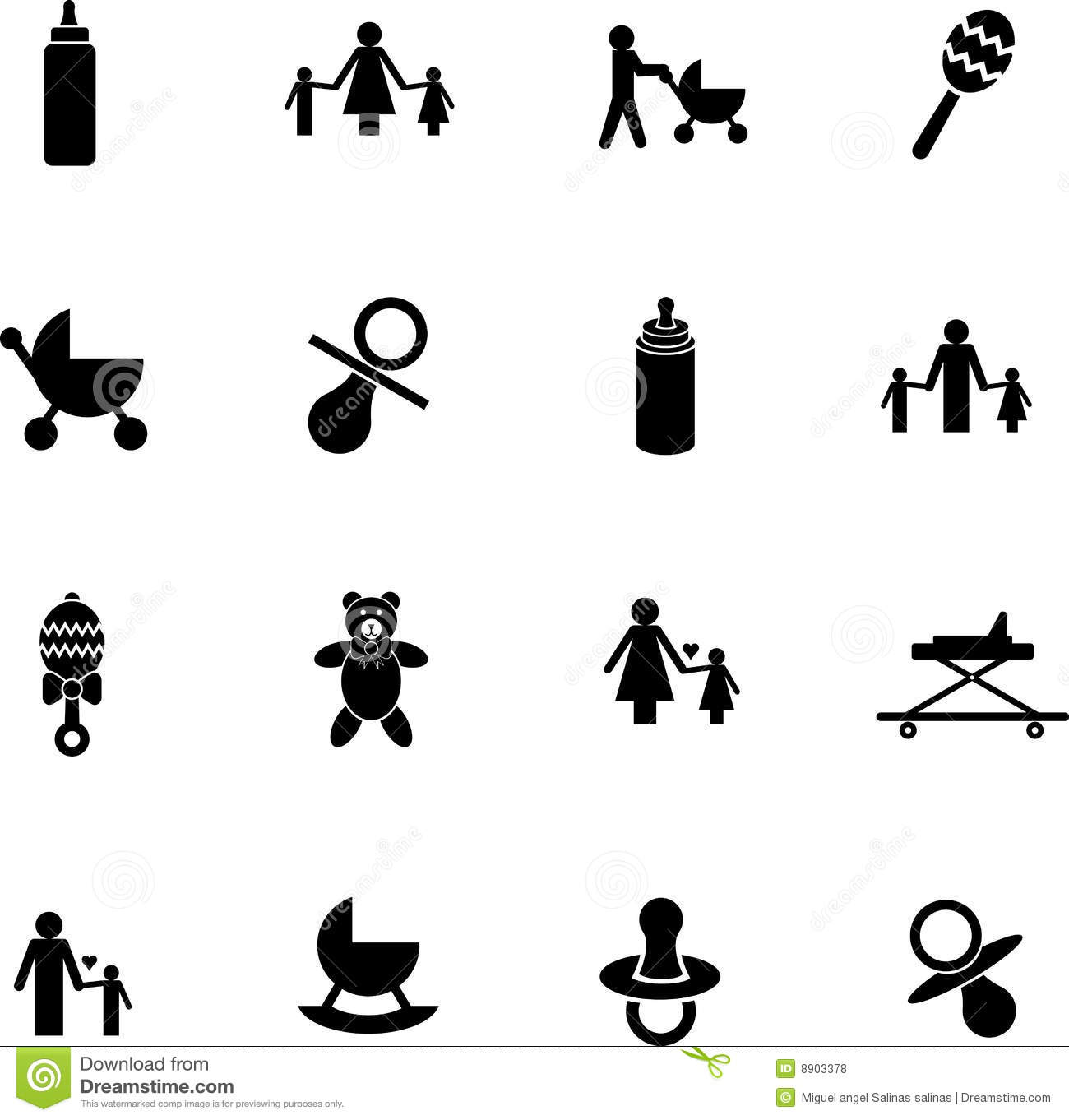 Vector Baby Items Symbol Set With Bottles Toys Etc Royalty Free Stock Photos