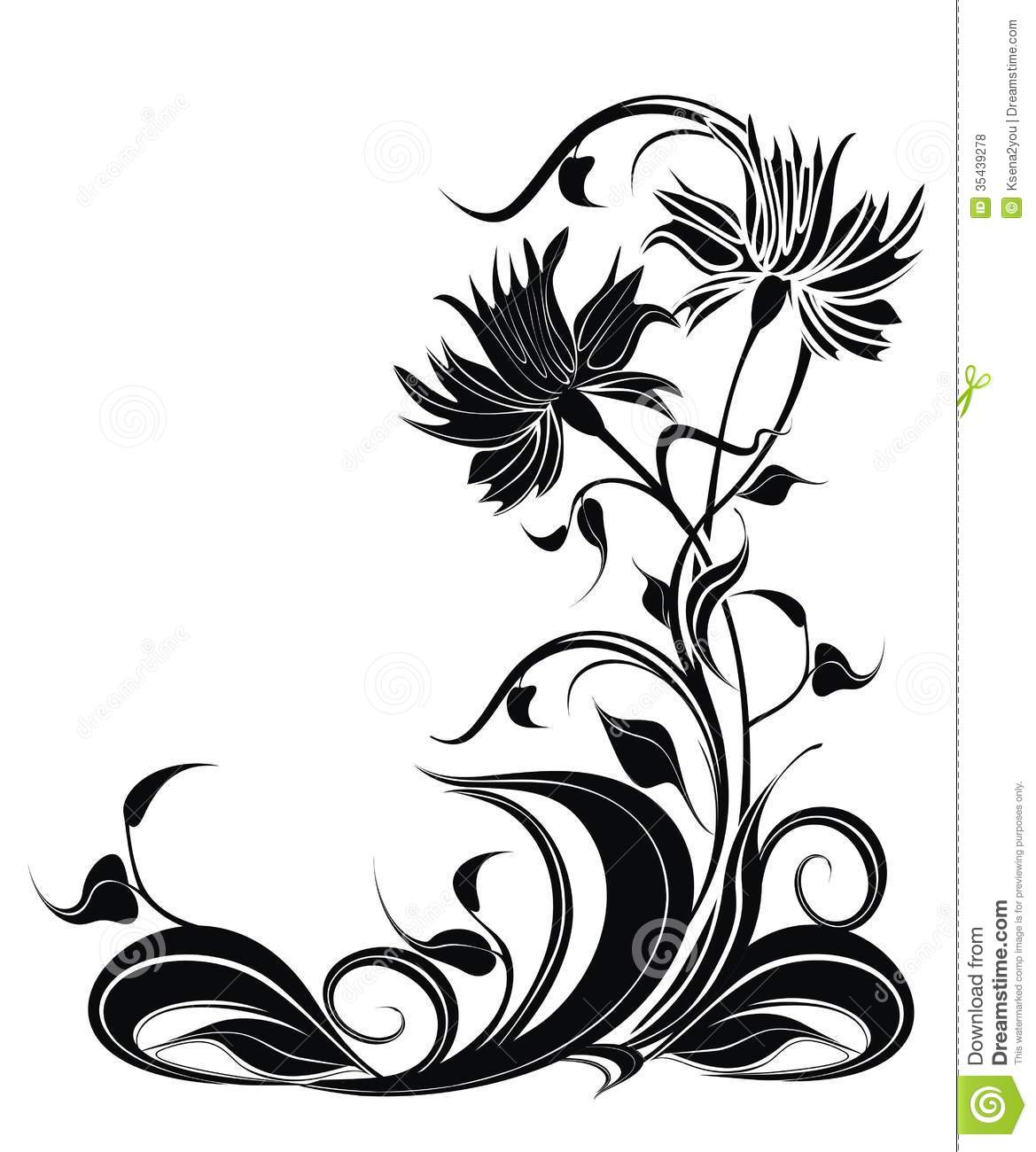 Vector Background With Flowers In Grunge Style Royalty