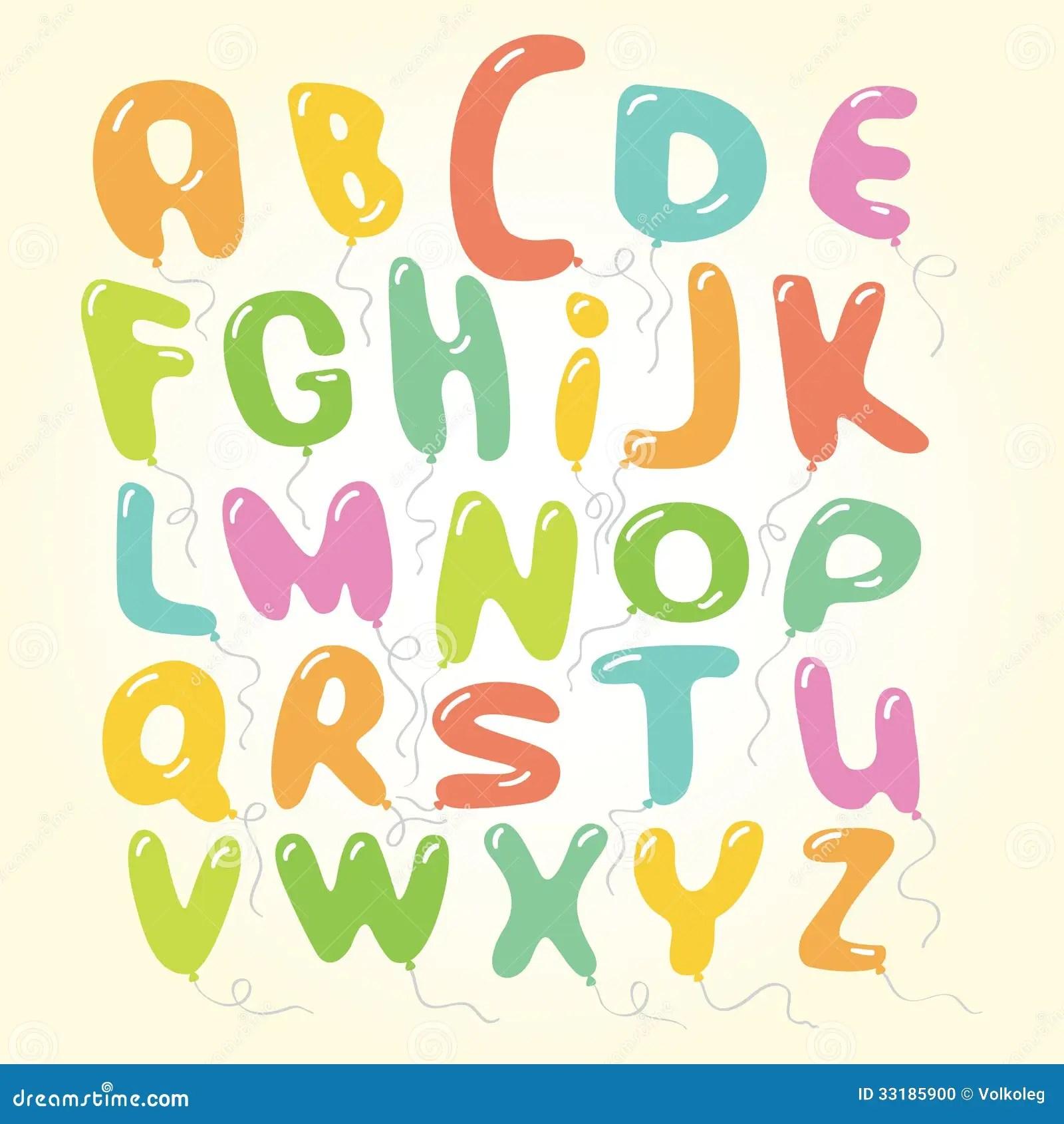 Vector Balloons Font Letters Alphabet Illustration Stock