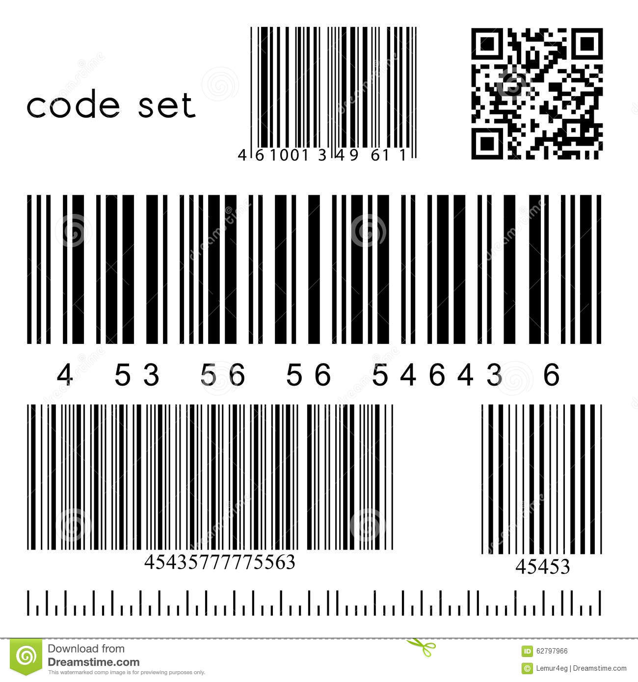 Vector Barcode Set Vector Illustration