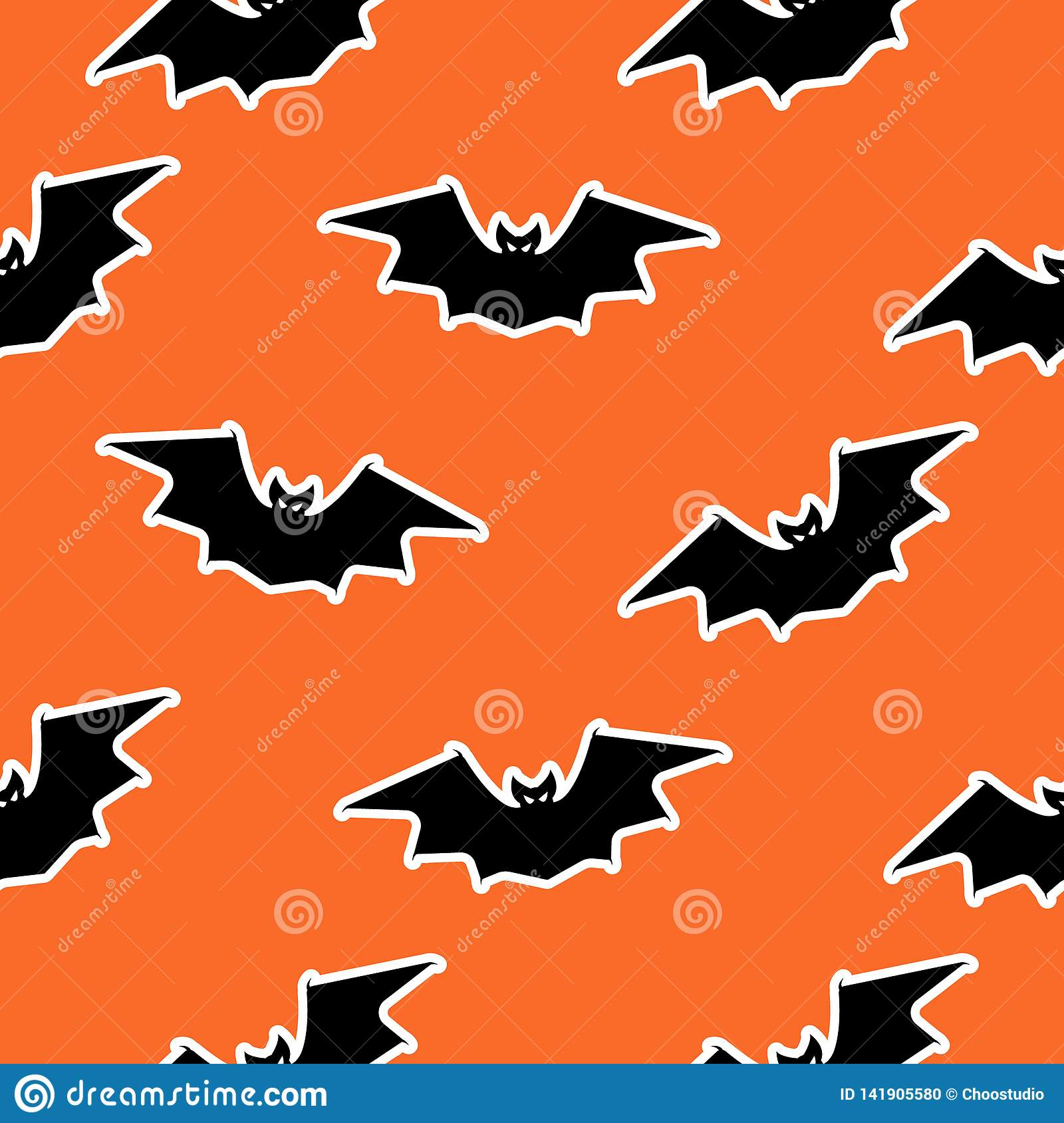 Vector Bat Seamless Pattern Halloween Design Black Stock