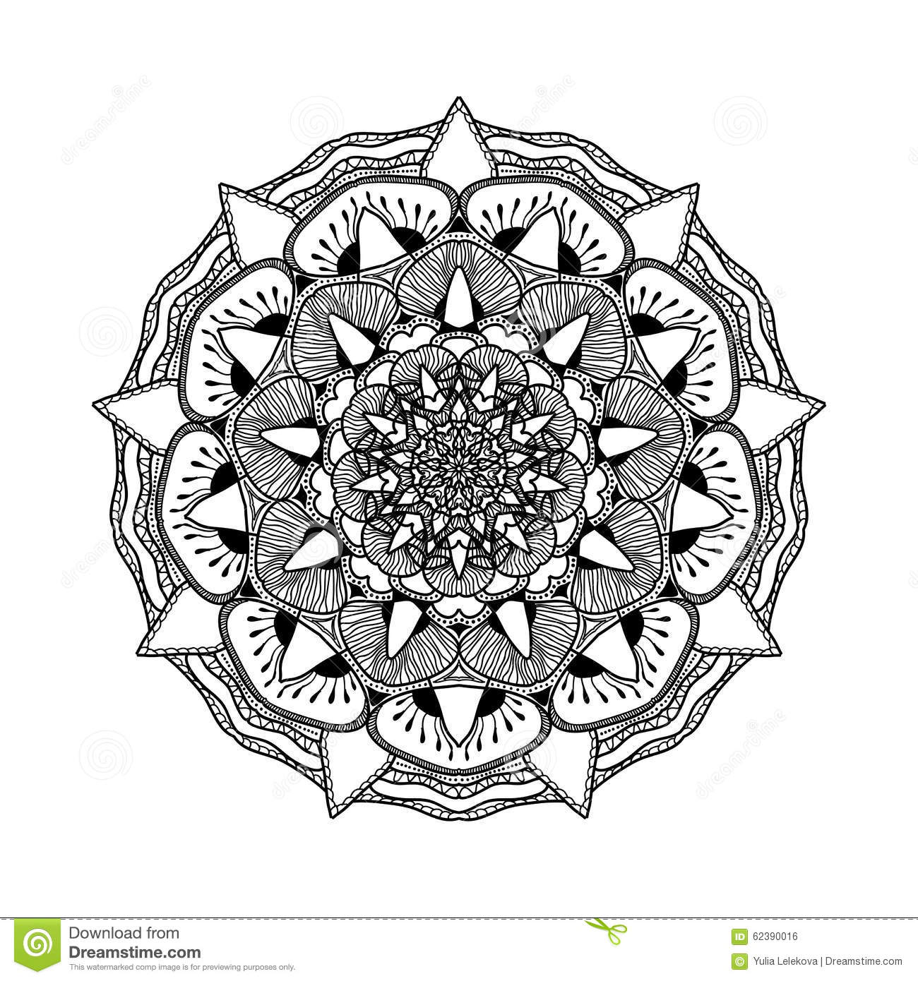 Vector Beautiful Mandala. Black And White Pattern For