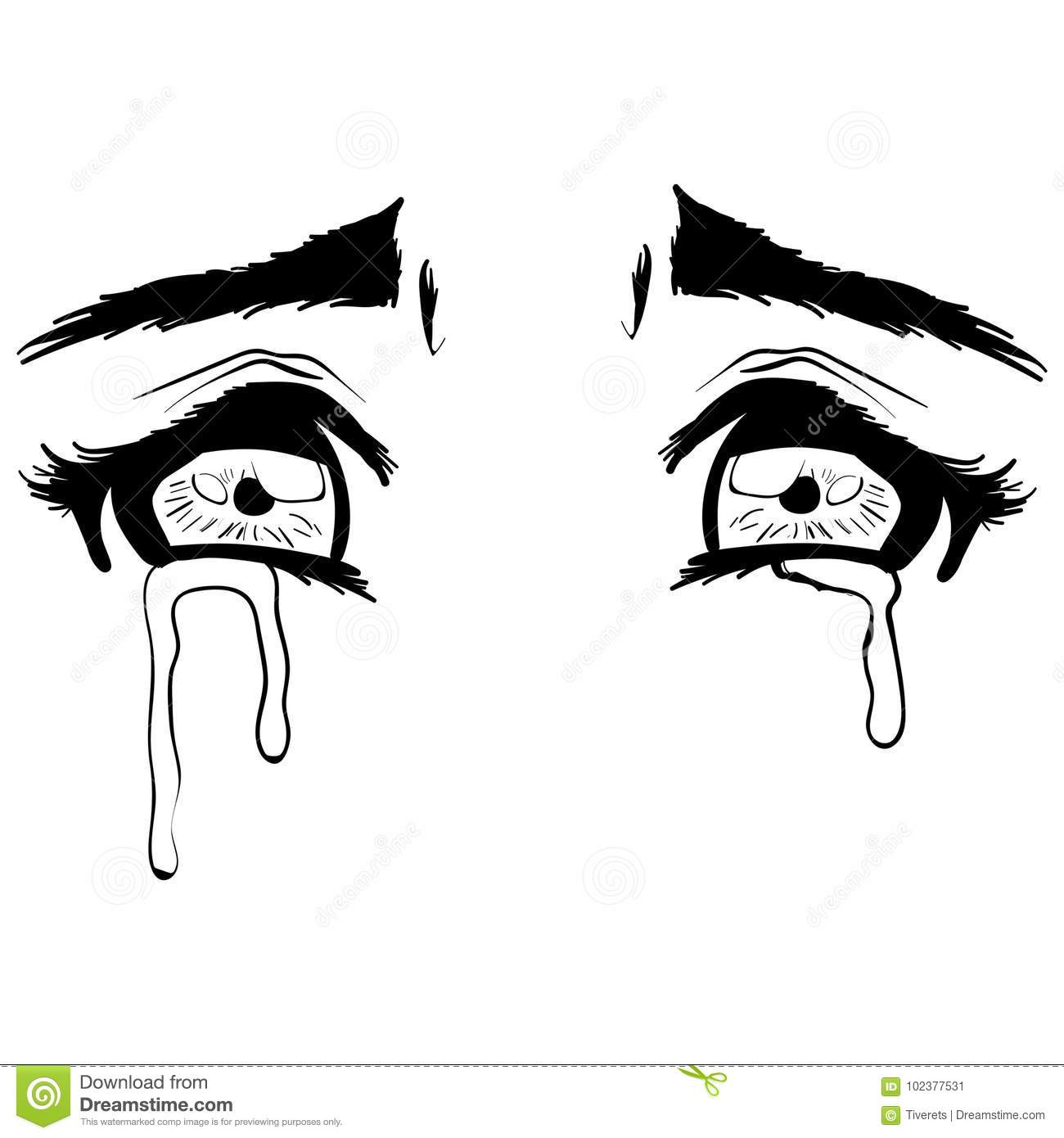 Vector Beautiful Illustration Crying Eyes Sketch Stock