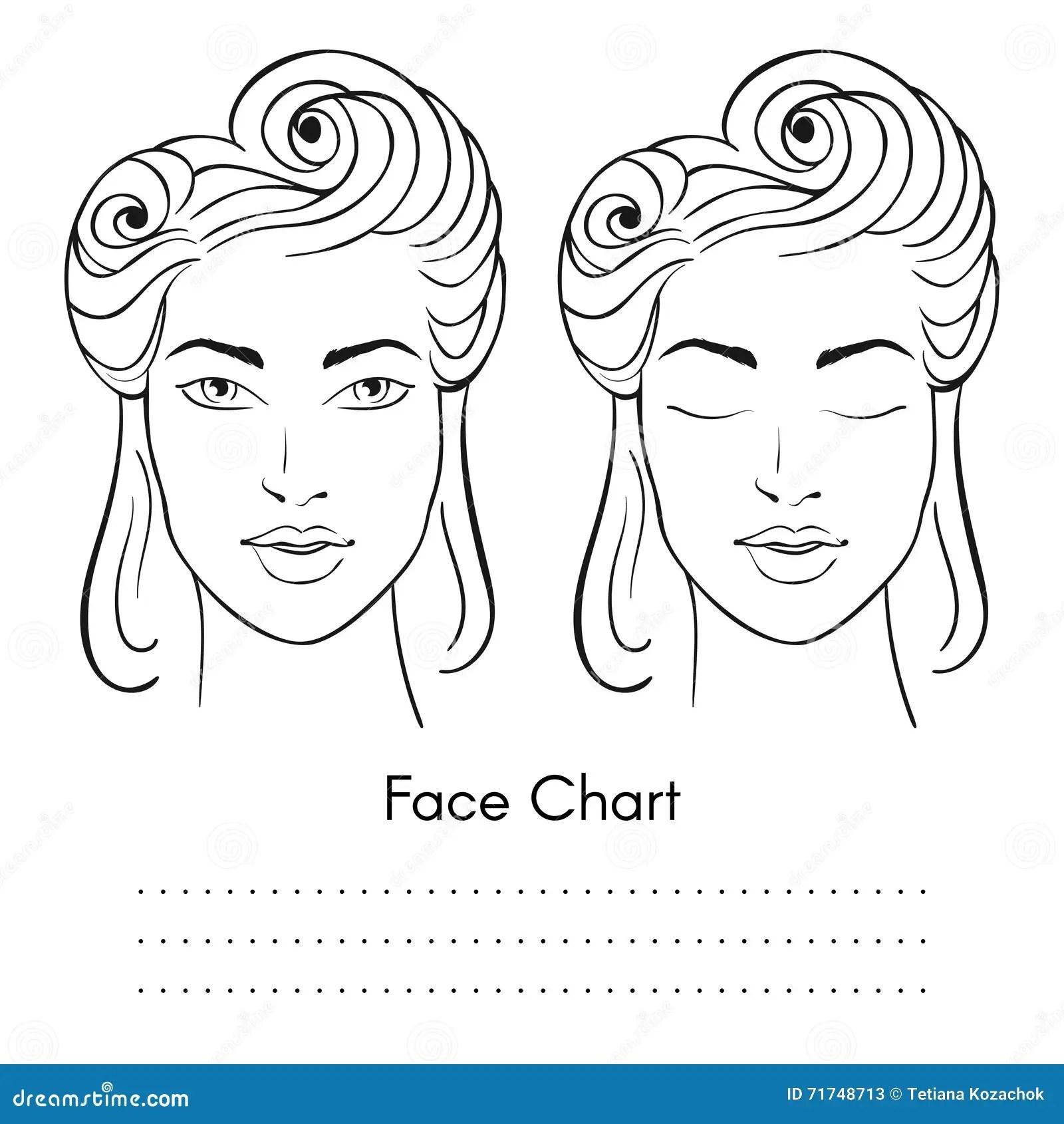Vector Beautiful Woman Face Chart Portrait Stock Vector