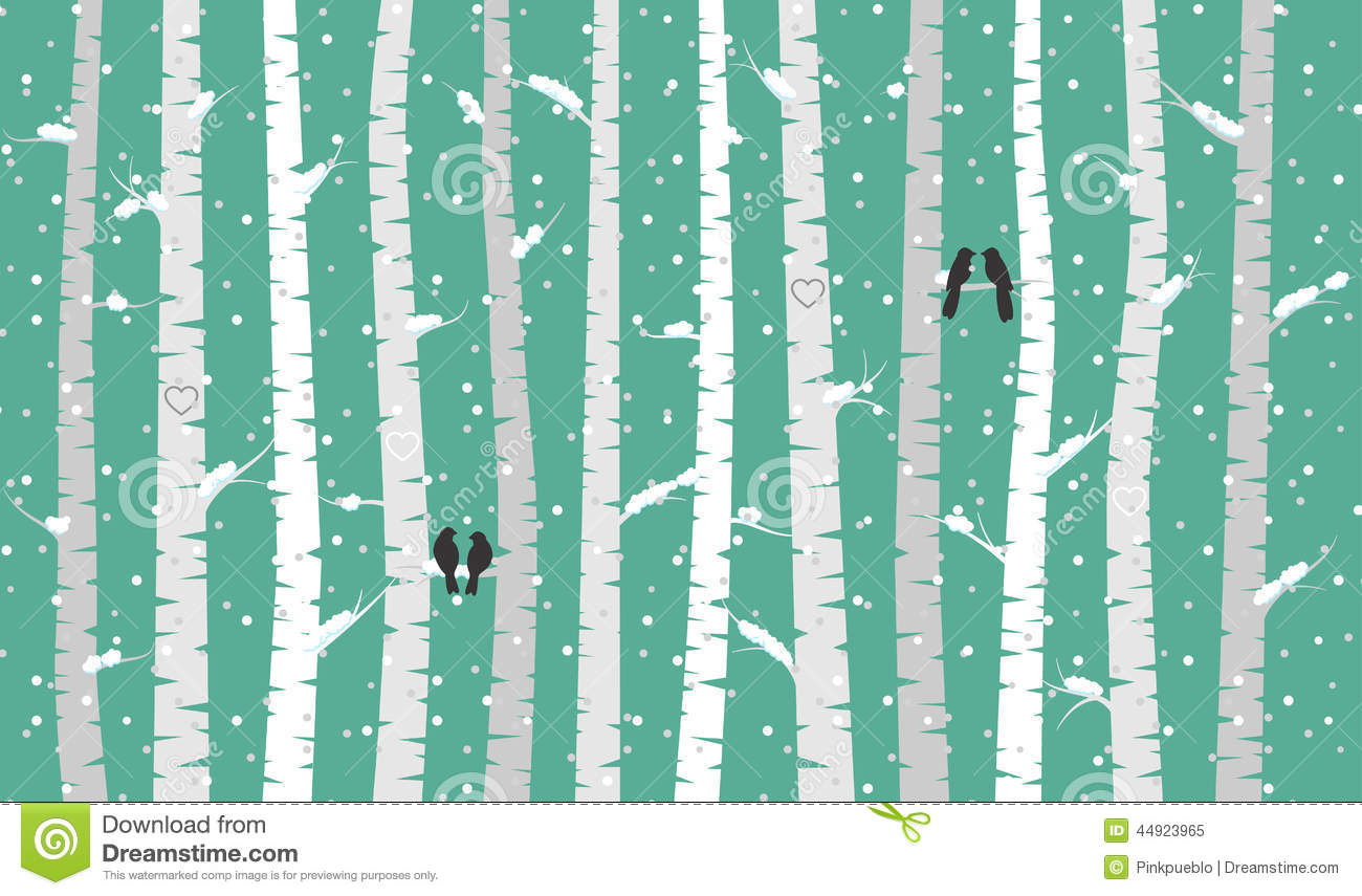 Free Falling Snow Wallpaper Vector Birch Or Aspen Trees With Snow And Love Birds Stock