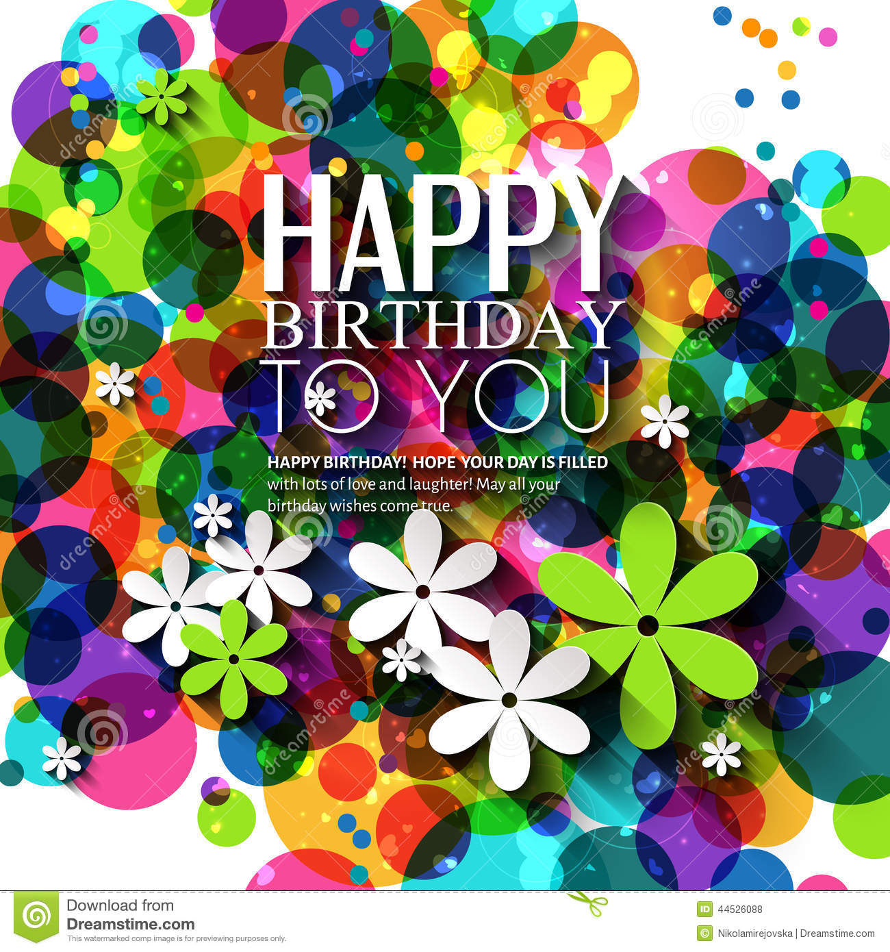 Vector Birthday Card With Flowers In Bright Colors Stock