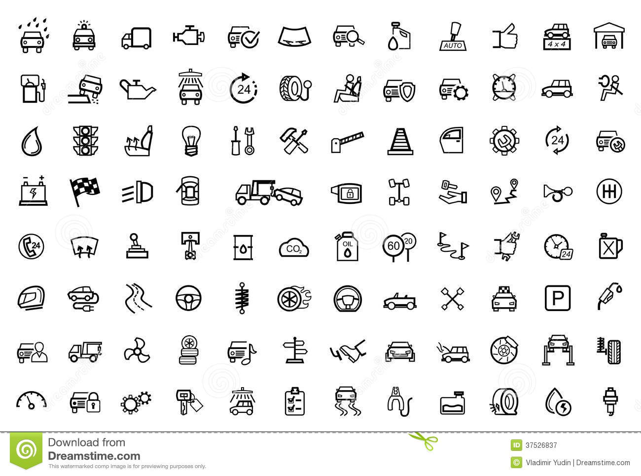 Vision X Light Wiring Diagram Vector Black Auto Icons Set Stock Vector Illustration Of