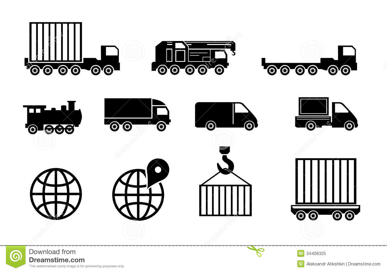 Vector Black Big Transportation Icon Set Royalty Free