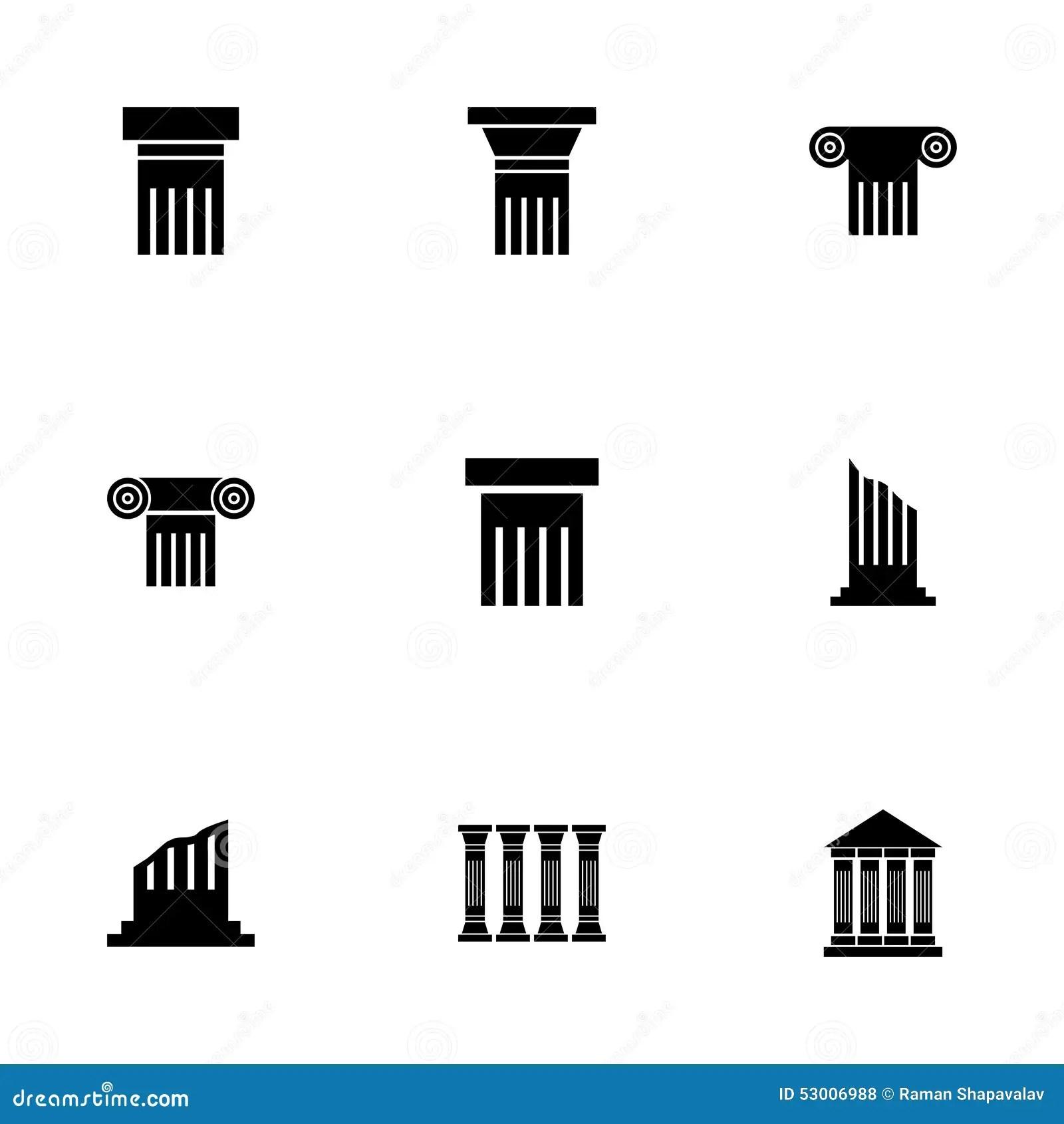 Vector Black Column Icons Set Vector Illustration