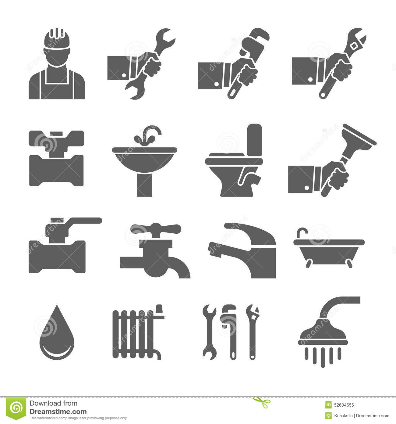 Vector Black Plumbing Icons Set Stock Illustration