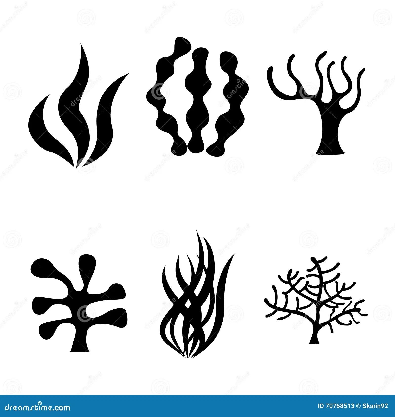Vector Black Seaweed Icons Set Stock Illustration