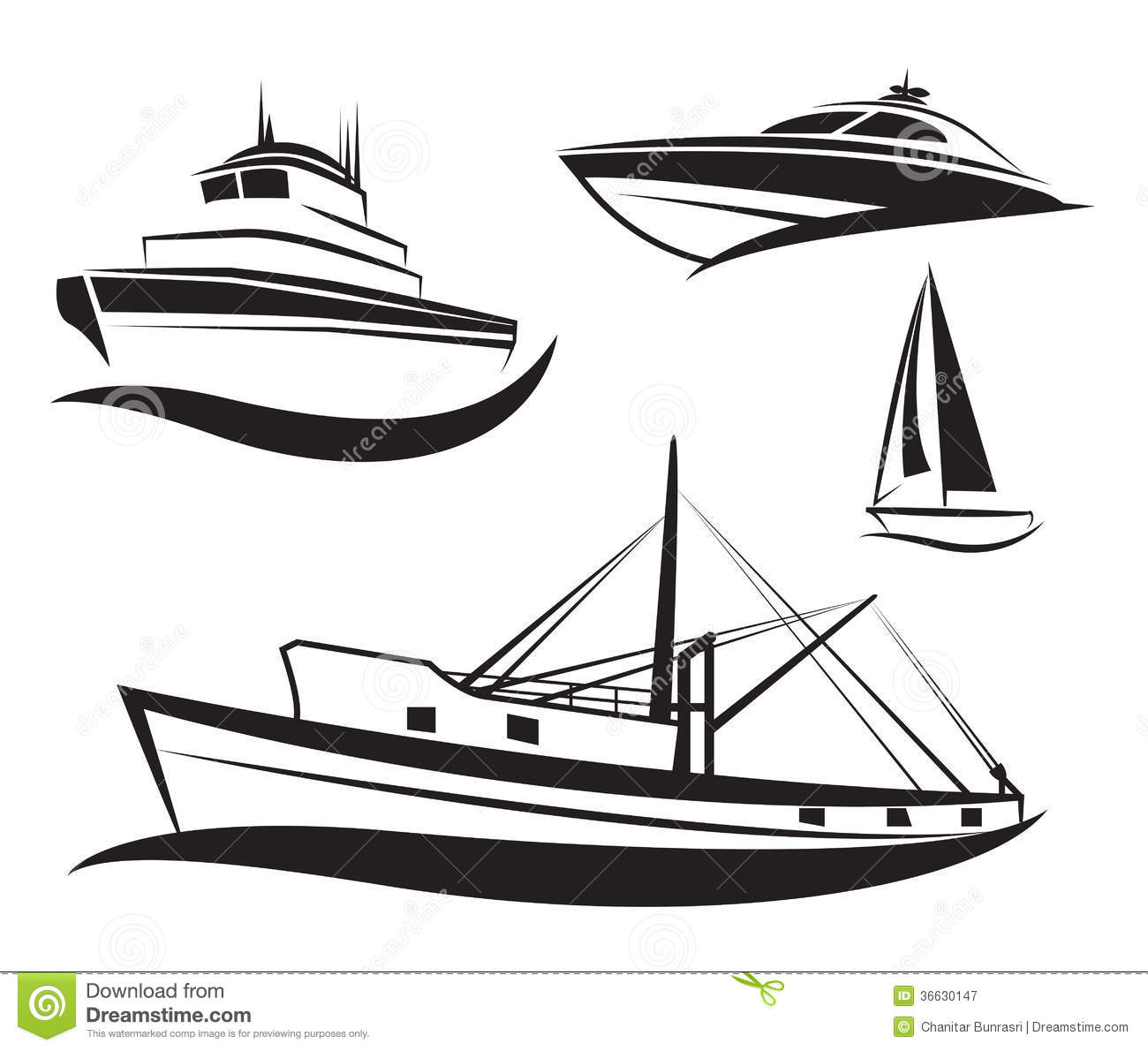 Vector Black Ship And Boat Set Stock Vector
