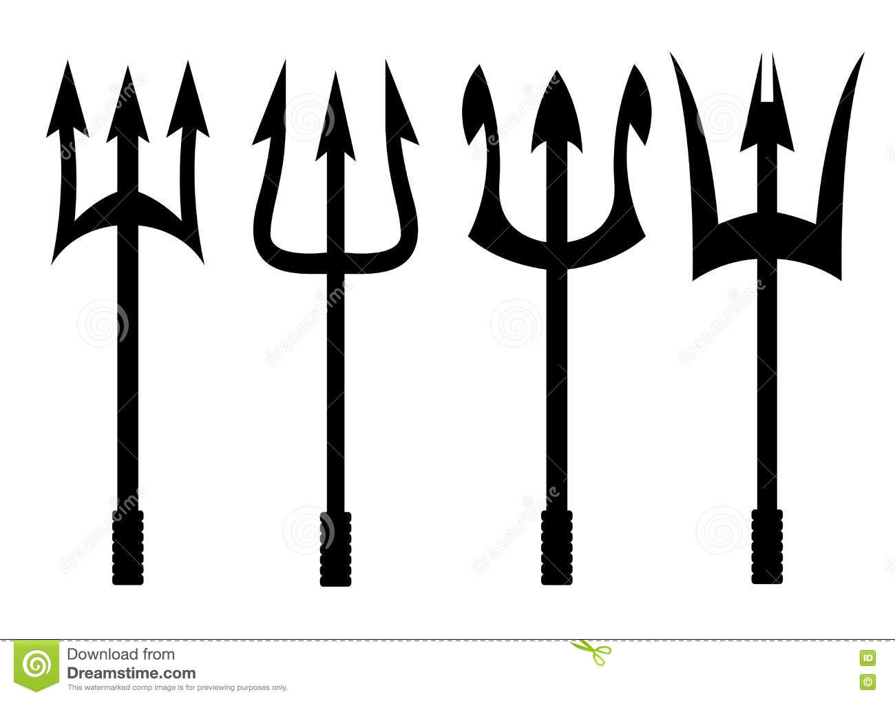 Vector Black Trident Icons Set Stock Illustration