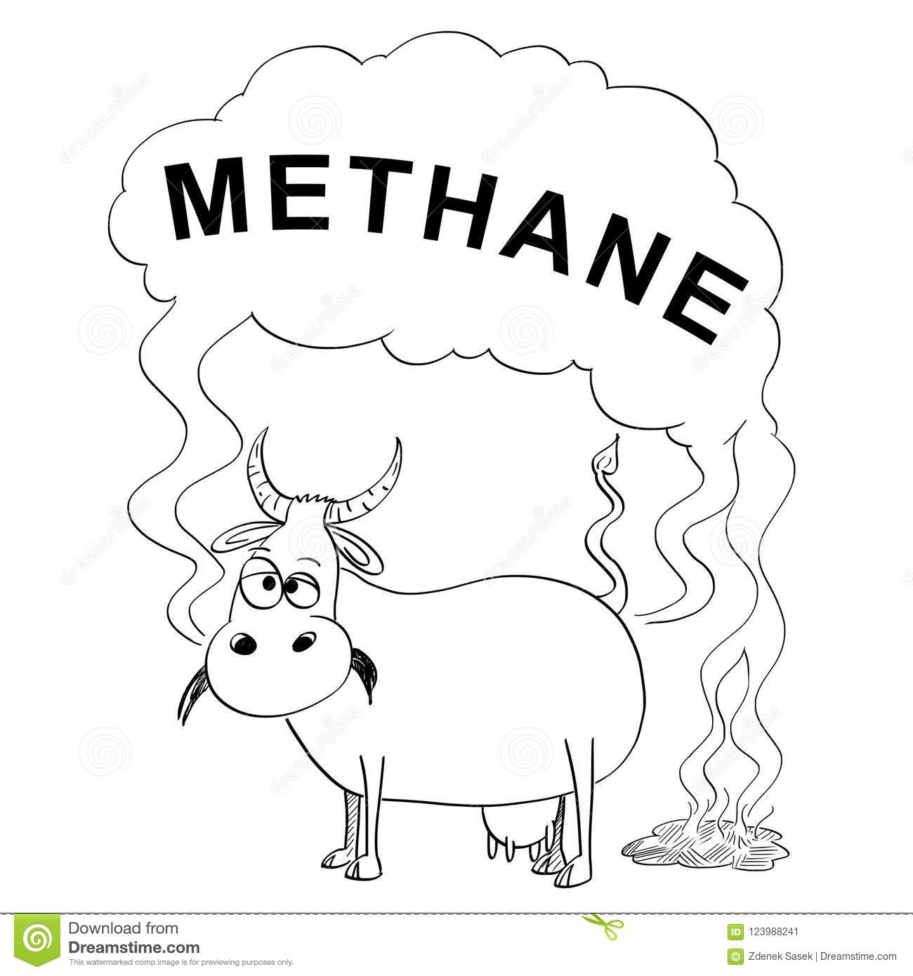 Vector Black And White Drawing Or Illustration Of Cow