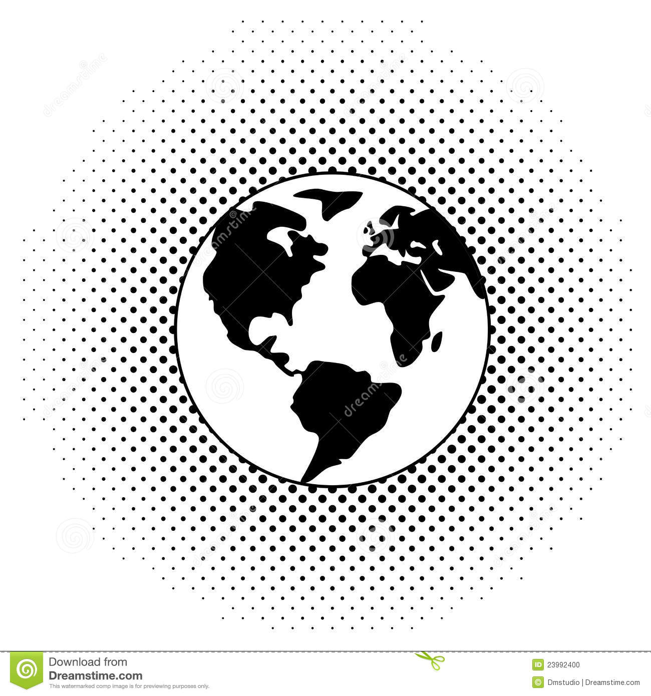 Vector Black And White Earth Globe Stock Vector