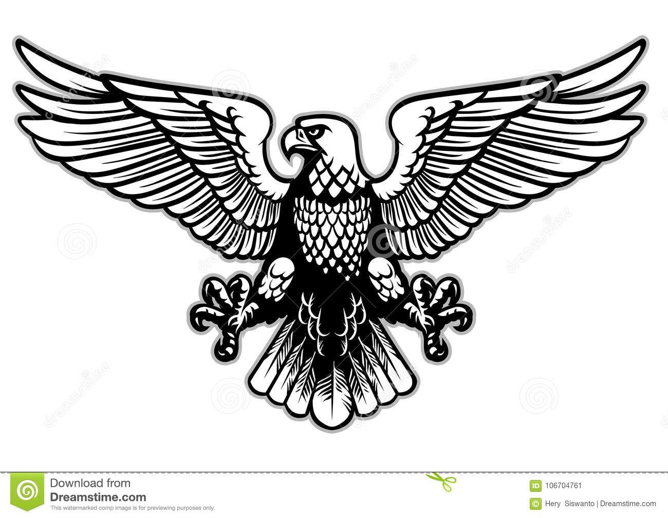 Black And White Heraldry Eagle Stock Vector
