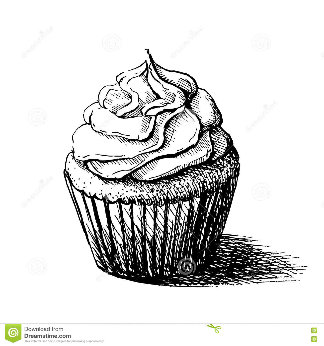 Vector Black And White Sketch Illustration Of Cute Creamy