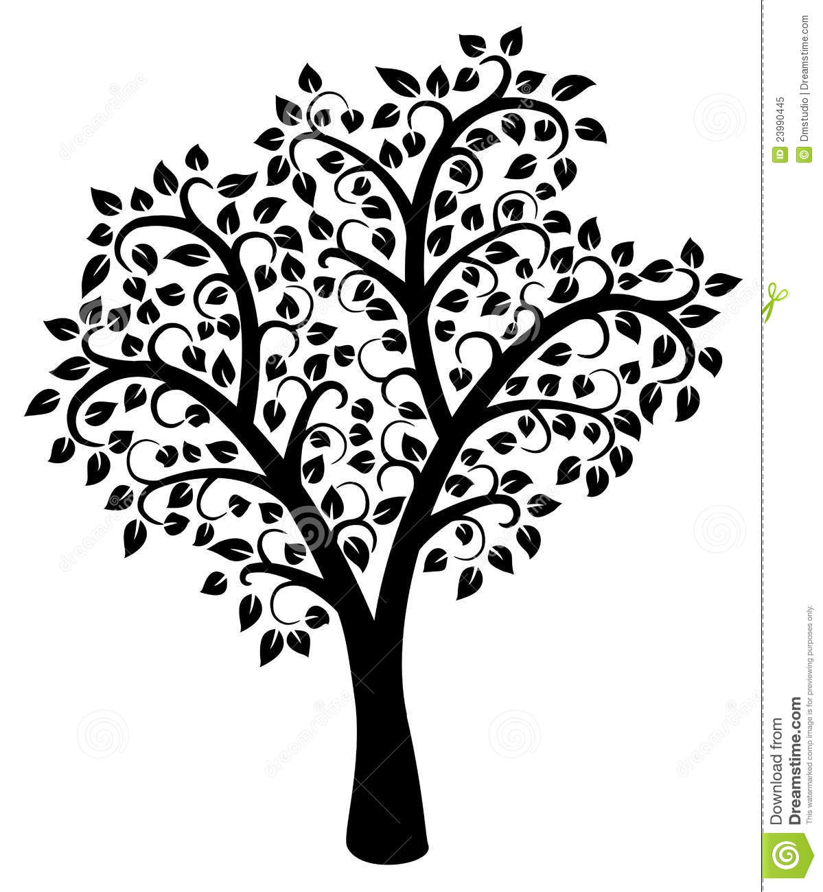 Vector Black And White Tree Stock Vector