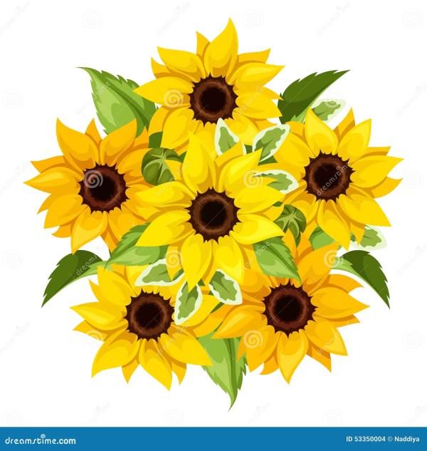 vector bouquet of sunflowers