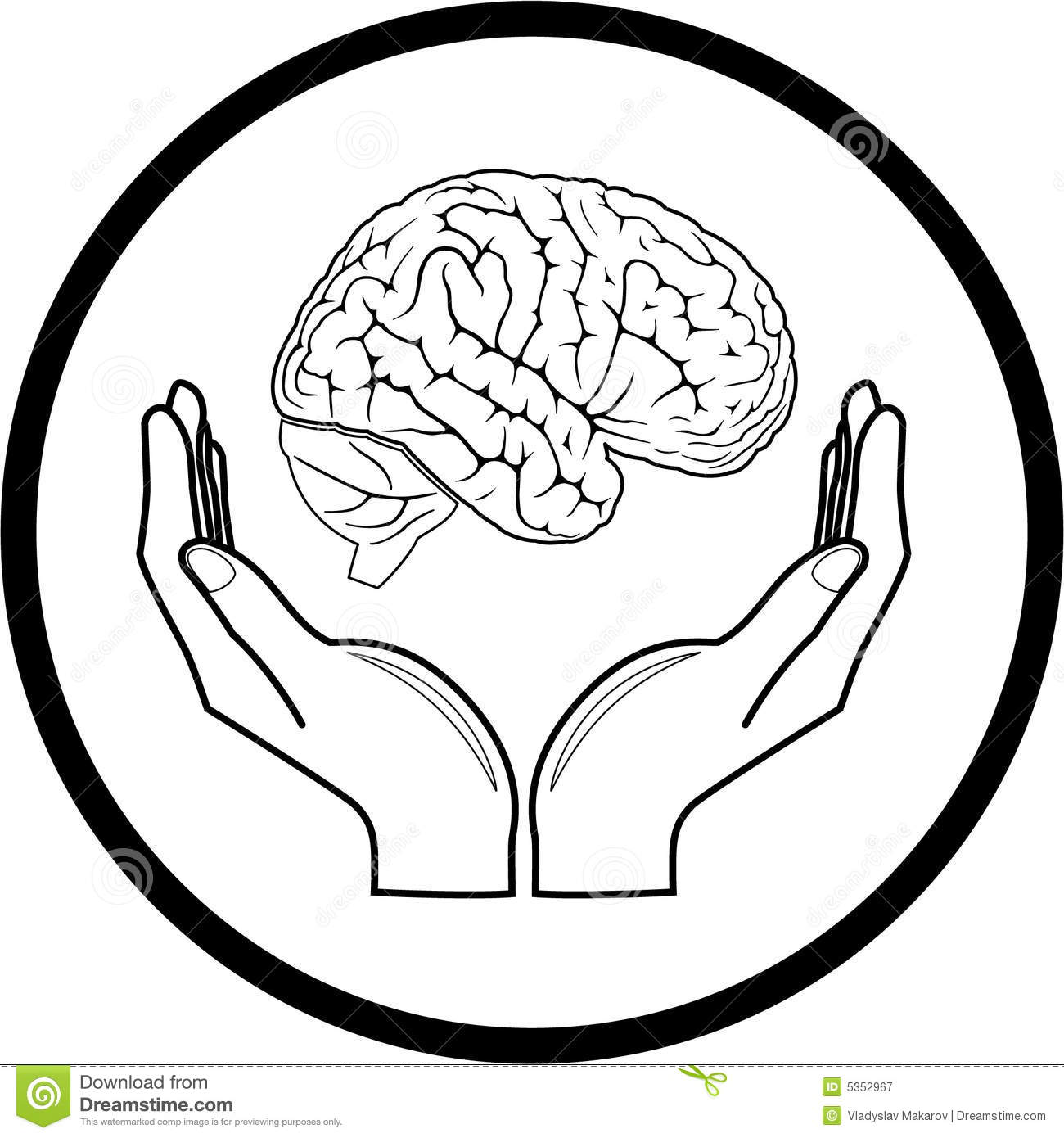 Vector Brain In Hands Icon Stock Vector Illustration Of